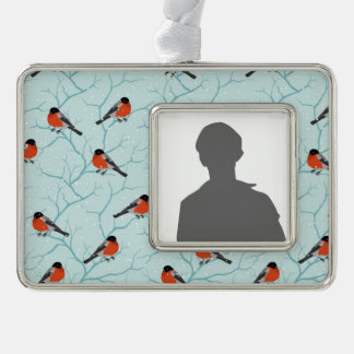 Winter Bird Pattern Silver Plated Framed Ornament