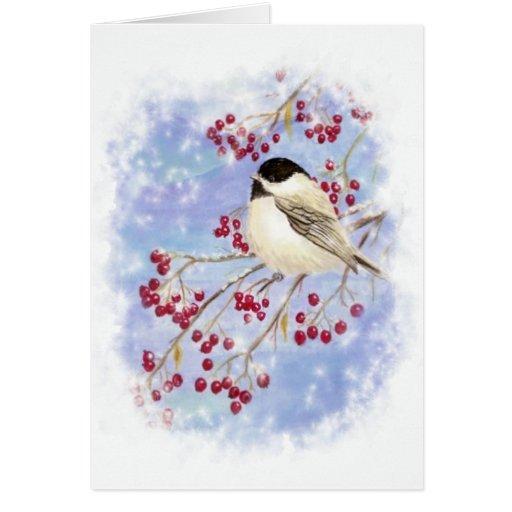 Winter Bird through Snowy Window. Christmas Scene Greeting Cards
