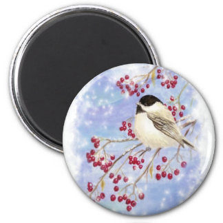 Winter Bird through Snowy Window. Christmas Scene Magnet