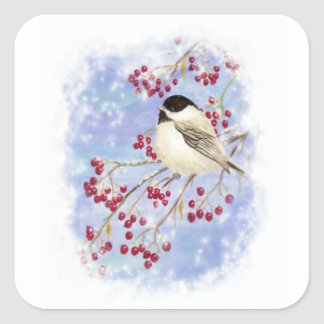 Winter Bird through Snowy Window. Christmas Scene Square Sticker