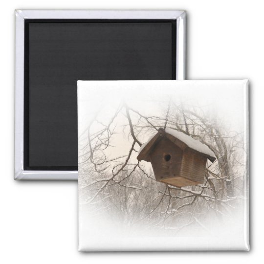 Winter Birdhouse Square Magnet