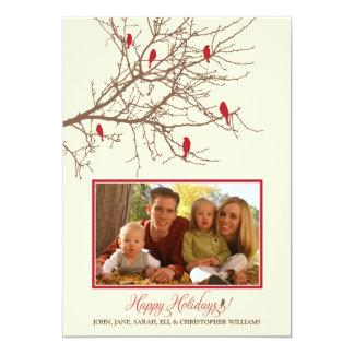Winter Birds Family Holiday Card (maroon) 13 Cm X 18 Cm Invitation Card