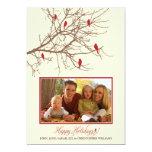 Winter Birds Family Holiday Card (maroon) Invite