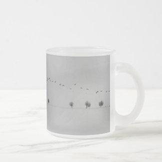 Winter birds frosted glass mug
