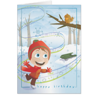 WINTER Birthday Greeting. 4 of 12. Note Card