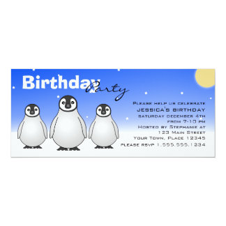 Winter Birthday Party Invitation w/ Baby Penguins