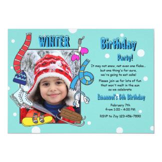 Winter Birthday Party Photo Invitation
