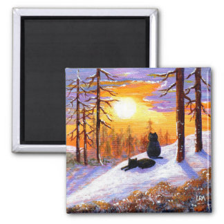 Winter Black Cats Snowy Forest Creationarts Square Magnet