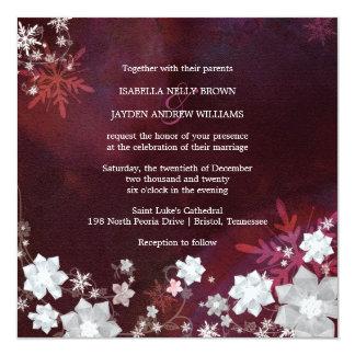 Winter Blings Merlot n White Wedding 13 Cm X 13 Cm Square Invitation Card
