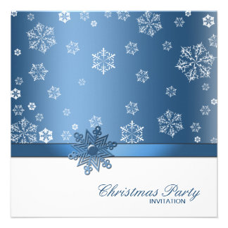 Winter Blue and White Snowflake Christmas Party Custom Invitations