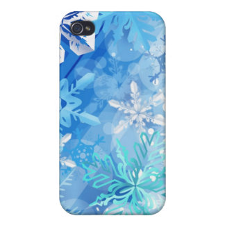 Winter Blue and White Snowflakes Case For iPhone 4