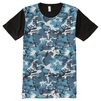 Winter Blue Camo All-Over Print T-Shirt