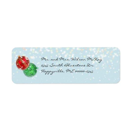 Winter Blue Christmas Snowfall Return Address Return Address Label