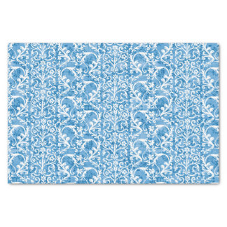 Winter Blue Damask Tissue Paper