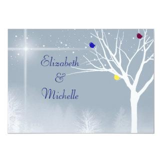 """Winter Blue Gay/Lesbian Custom Wedding Invitation 5"""" X 7"""" Invitation Card"""