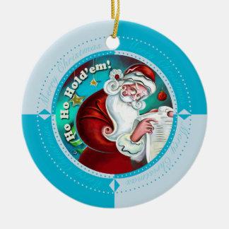 Winter Blue Ho Ho Hold'Em Christmas Ornament