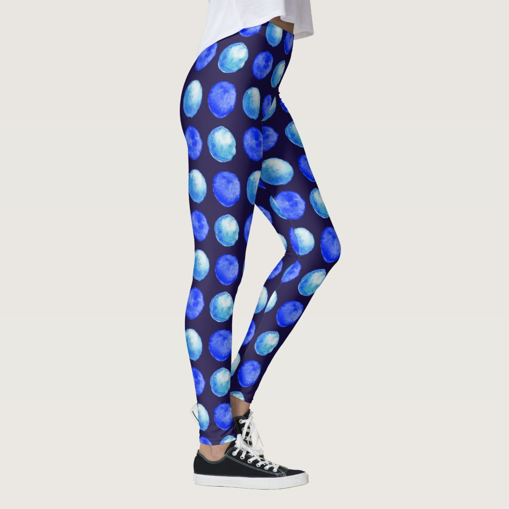 Winter Blue Large Watercolor Dots Pattern Leggings