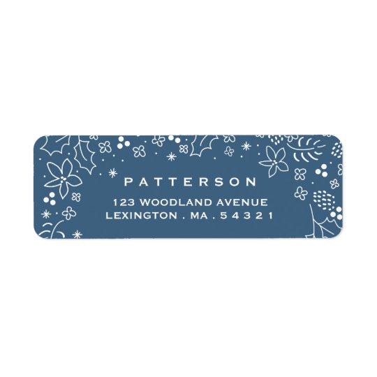 Winter Blue Season's Greetings Christmas Label