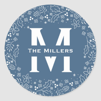 Winter Blue Season's Greetings Christmas Round Sticker