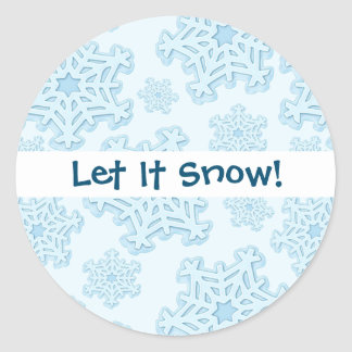 Winter Blue Snowflake Christmas Yule Snow Xmas Ice Classic Round Sticker