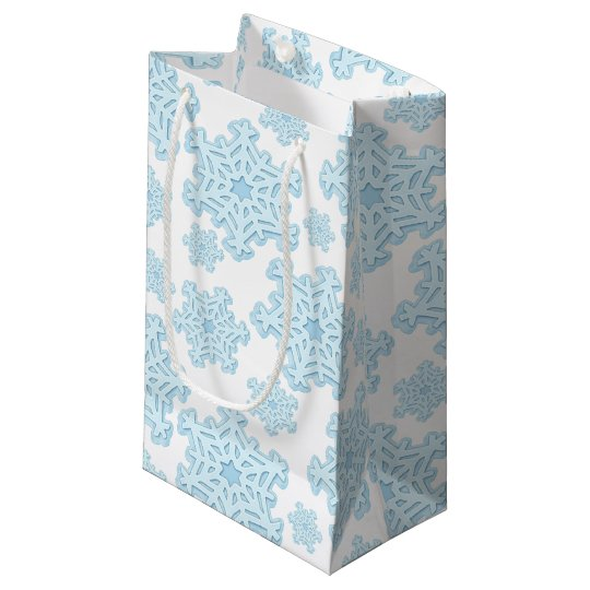 Winter Blue Snowflake Christmas Yule Xmas Gift Bag