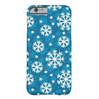 Winter Blue Snowflake Pattern Barely There iPhone 6 Case