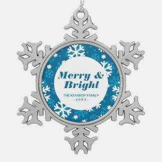 Winter Blue Snowflake Pattern Pewter Snowflake Decoration