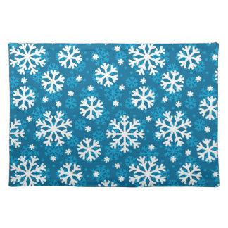 Winter Blue Snowflake Pattern Placemat