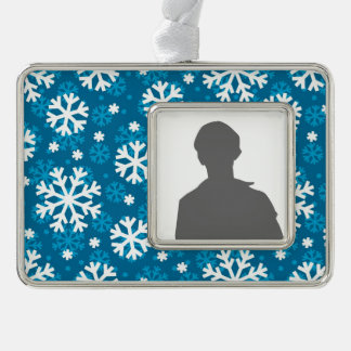 Winter Blue Snowflake Pattern Silver Plated Framed Ornament