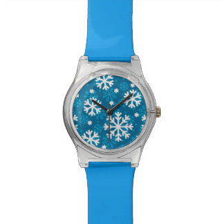 Winter Blue Snowflake Pattern Watch