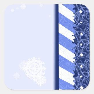Winter Blue Square Stickers