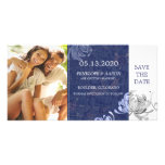 Winter Blue White Mum Floral Wedding Save the Date Personalised Photo Card