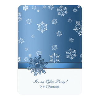 Winter Blue & White Snowflake - Office Party card 13 Cm X 18 Cm Invitation Card
