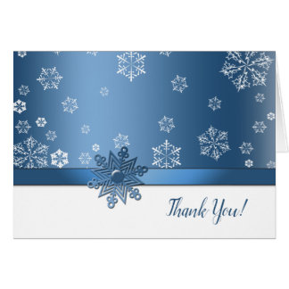 Winter Blue & White Snowflake Thank You Cards