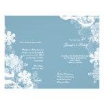 Winter Blue White Snowflake Wedding Program