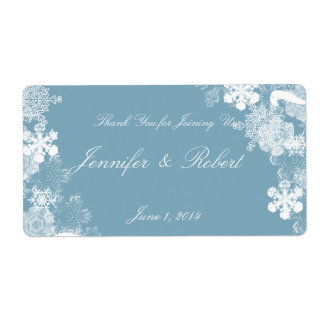 Winter Blue White Snowflakes Wedding Water Label Shipping Label