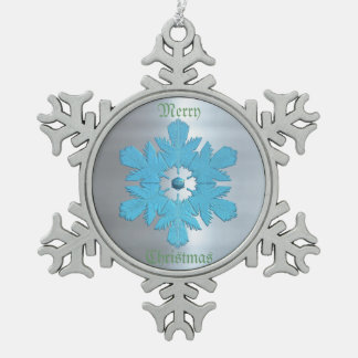 Winter Blues Metal Flake Snowflake Pewter Christmas Ornament