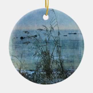 Winter Blues Round Ceramic Decoration