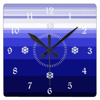 Winter Blues Square Wall Clock
