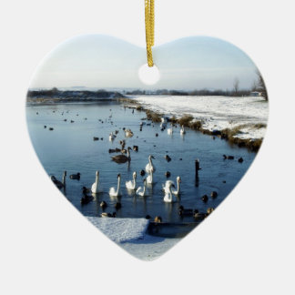 Winter boating lake scene with birds feeding. christmas ornament