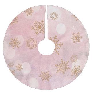 winter Bokeh pink Brushed Polyester Tree Skirt