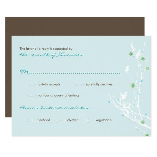 Winter Branch Snow Flower Wedding RSVP Card