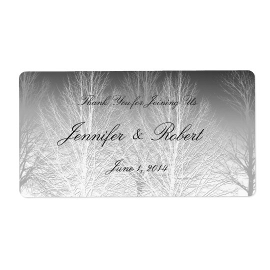 Winter Branches Black White Grey Water Label