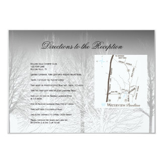 Winter Branches Black White Wedding Directions 3.5x5 Paper Invitation Card
