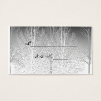 Winter Branches Black White Wedding Place Card