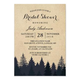 Winter Bridal Shower   Rustic Kraft Pine Trees Card