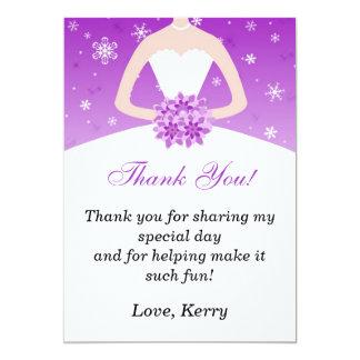 Winter Bride Purple Dress Thank You Card