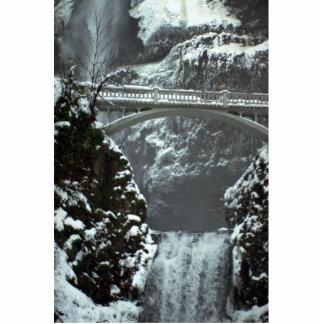 Winter bridge, Multnomah Falls, Oregon, U.S.A. Standing Photo Sculpture