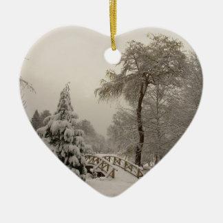 Winter Bridge Ornament Snow Trees Decorations