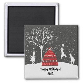 Winter Bunny Hoppy Holidays Magnet
